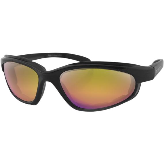 Bobster Fat Boy Sunglasses - Matte Black - Purple/Yellow Revo