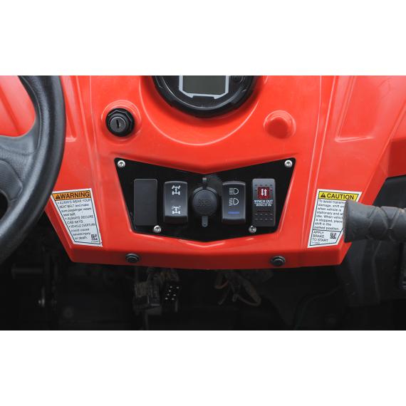 Moose Racing Dash Plate - Black - 4 Switch - RZR