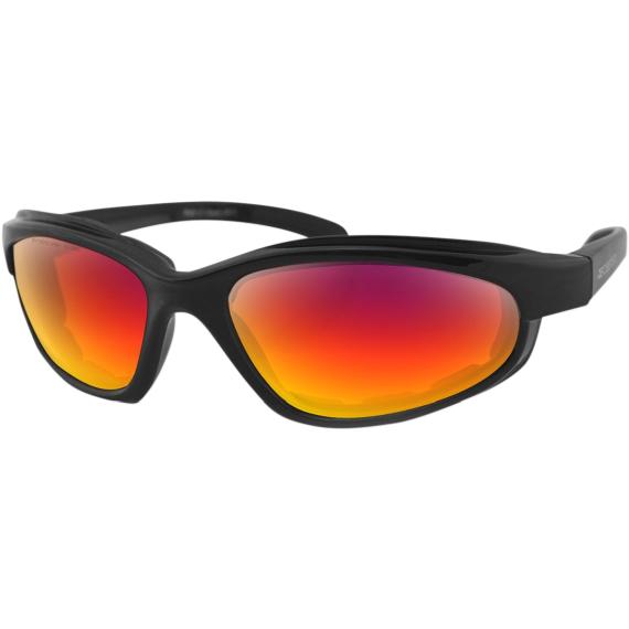 Bobster Fat Boy Sunglasses - Matte Black - Purple/Red Revo