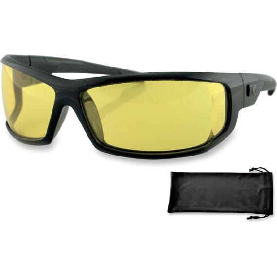 Bobster AXL Sunglasses - Gloss Black - Yellow