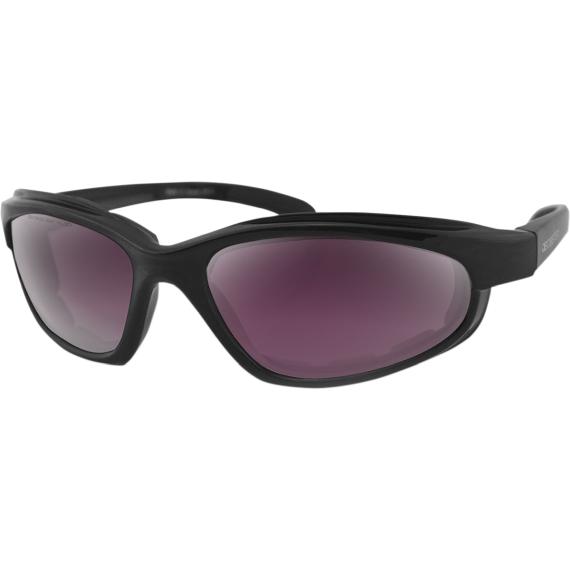 Bobster Fat Boy Sunglasses - Matte Black - Purple/Silver Revo