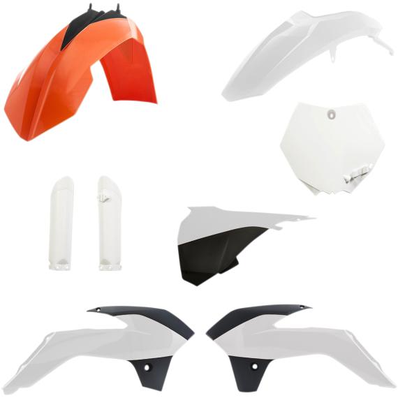 Acerbis Full Replacement Plastic Kit - '17 OE Orange/Black/White - SX85