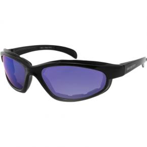 Bobster Fat Boy Sunglasses - Gloss Black - Smoke Cyan Mirror