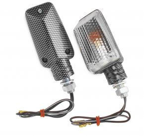 "Bikemaster Universal Marker Light Kit - MINI STALK,CLR LENS,AMBER BULB,CARBON SH - Carbon - 3-7/16"""
